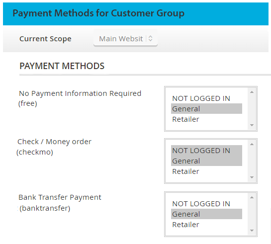 payment methods per customer group