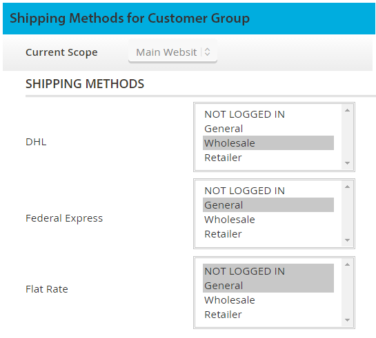 shipping methods per customer group