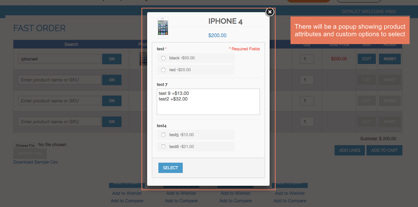 Show popup of product attributes and custom options for customers to select when choosing configurable products