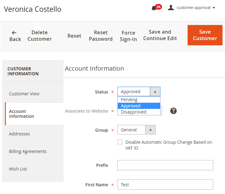 Change account status in customer detail page