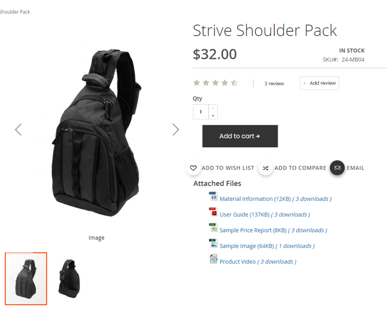 product attachments magento 2 - on product page