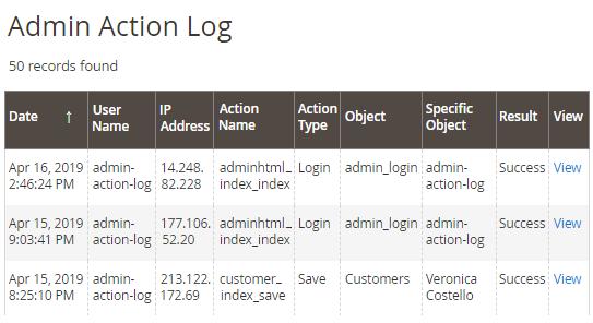 admin action log grid