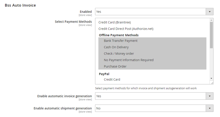 create invoice/shipment based on payment methods