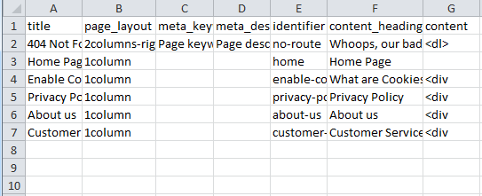 Import multiple CMS pages via a CSV file