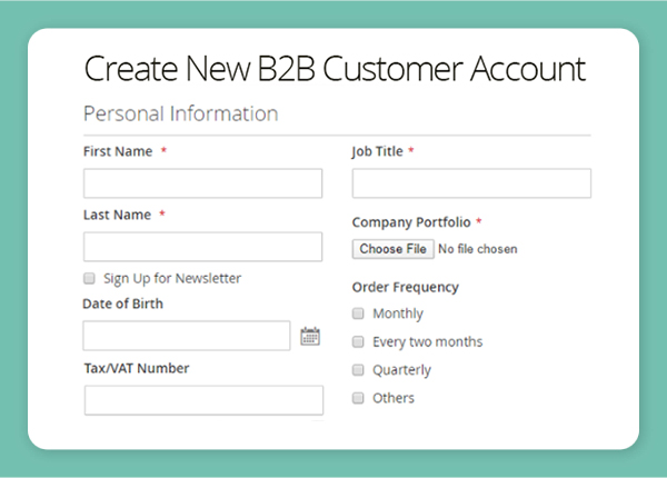 customer attribute compatible b2b registration
