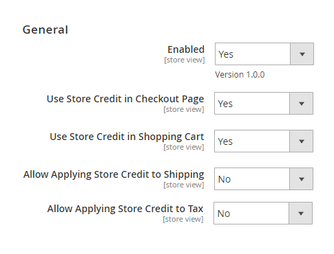 Settings of Store Credit