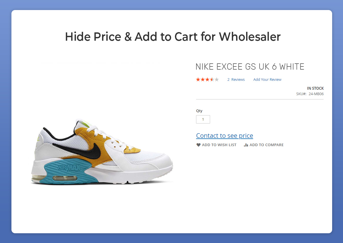 Magento 2 hide price for wholesale