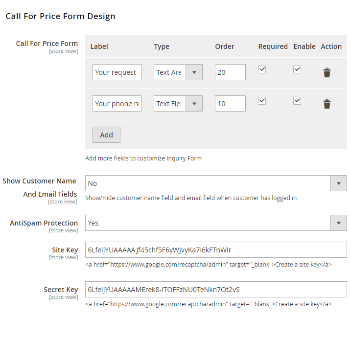 call for price configure