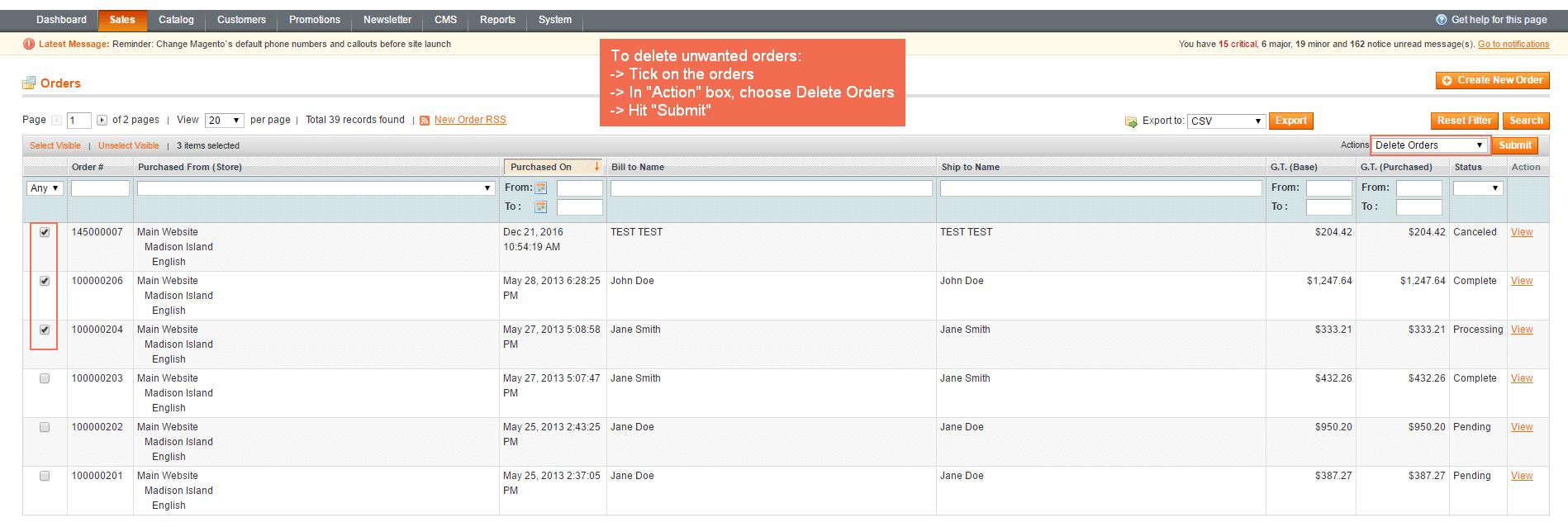 magento-delete-orders