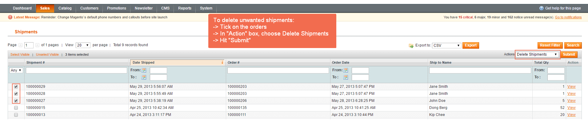 magento-delete-orders-delete-shipments