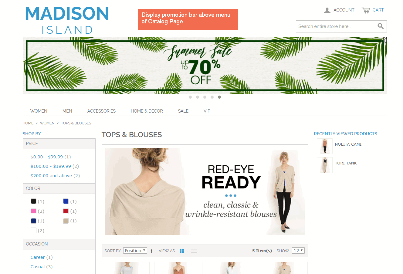 magento promotion notification bar displayed on catalog page