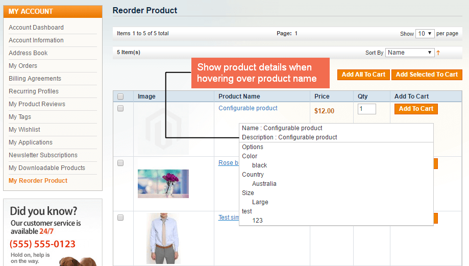 magento reorder extension-show product details
