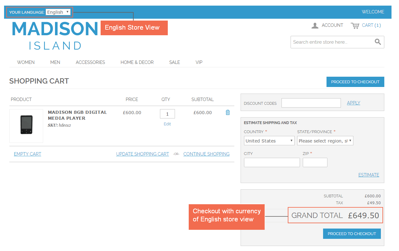 magento multiple store view pricing-checkout with English