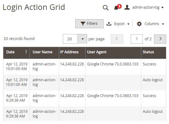 login action grid