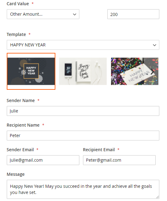 Configure and buy custom gift cards