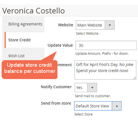 Manage each of store credit accounts