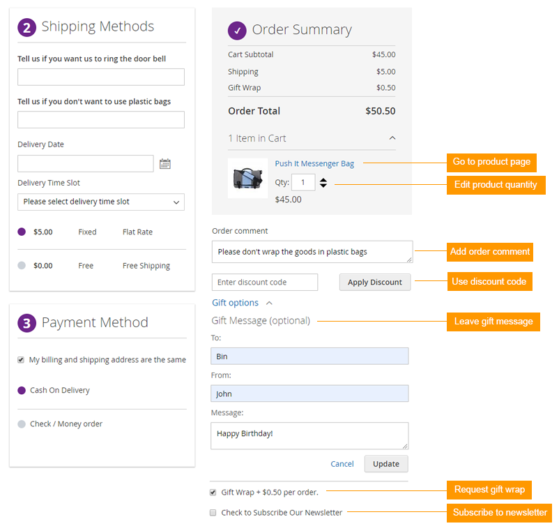 magento 2 one step checkout mass action