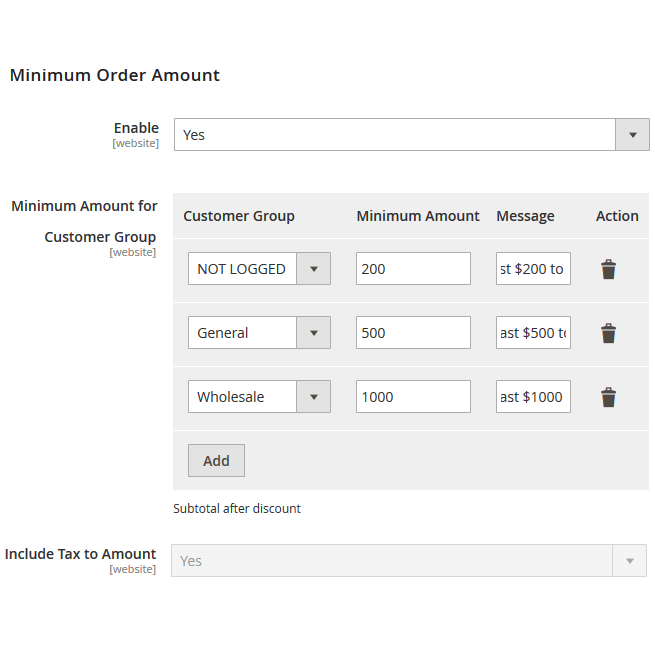 minimum order amount for customer group