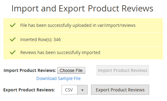 notification after making product reviews import