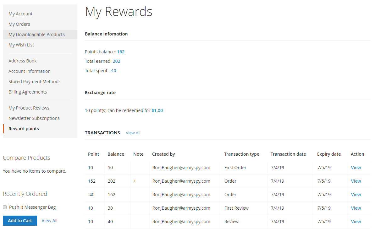 magento 2 reward points extension - points in customer account