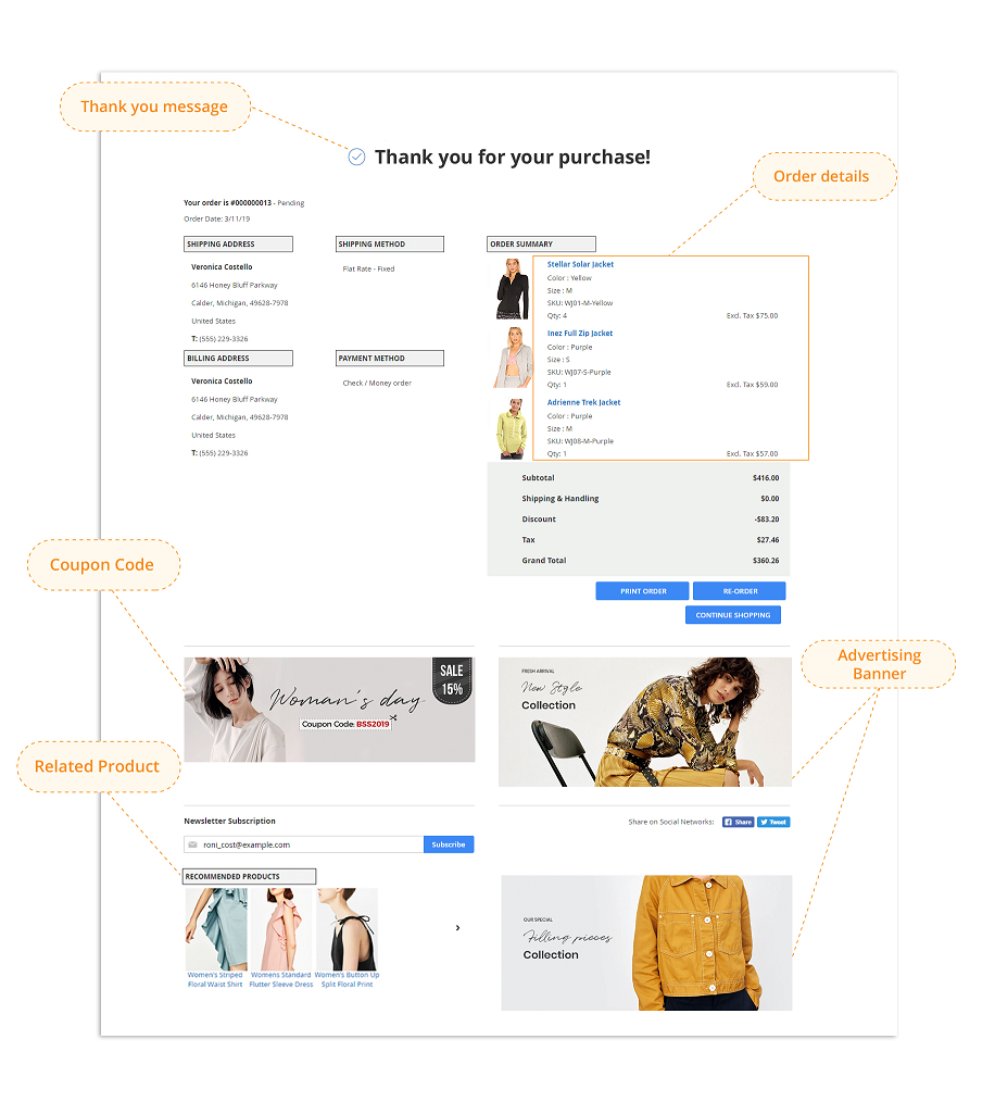 magento 2 checkout combo - checkout success page