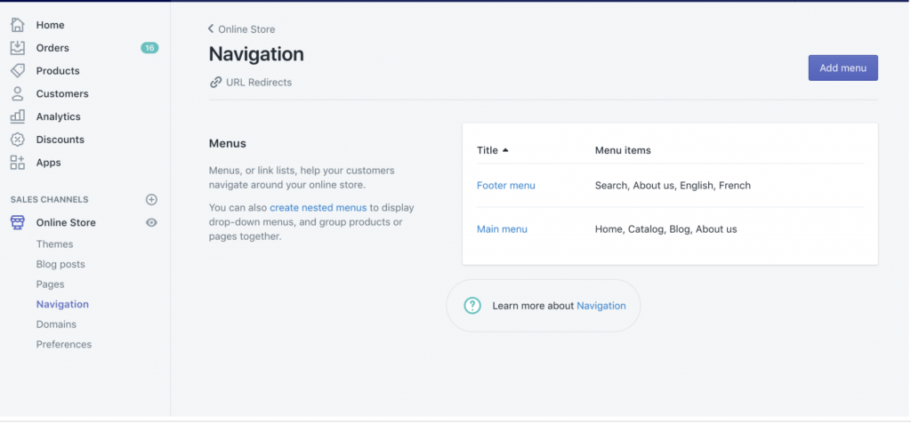 Shopify navigation dashboard