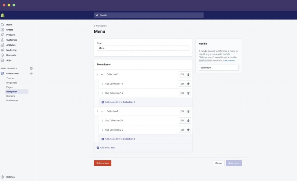 Shopify collection and sub-collection menu