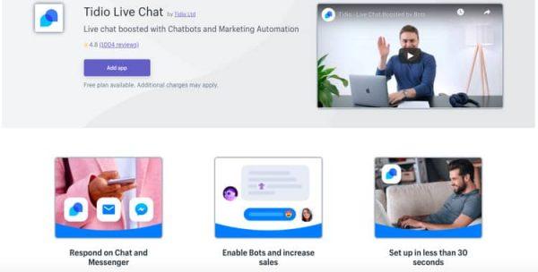 Tidio - best shopify live chat app