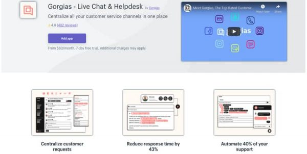 Gorgias mentioned constantly as best shopify live chat app provider
