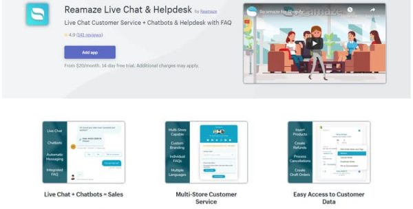 Reamaze Live Chat & Helpdesk as one of the best shopify live chat apps