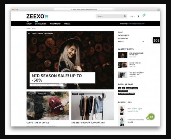 Zeexo Shopify Blog Theme