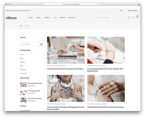 Corano Shopify blog theme example