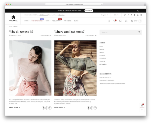Vodoma Shopify blog theme