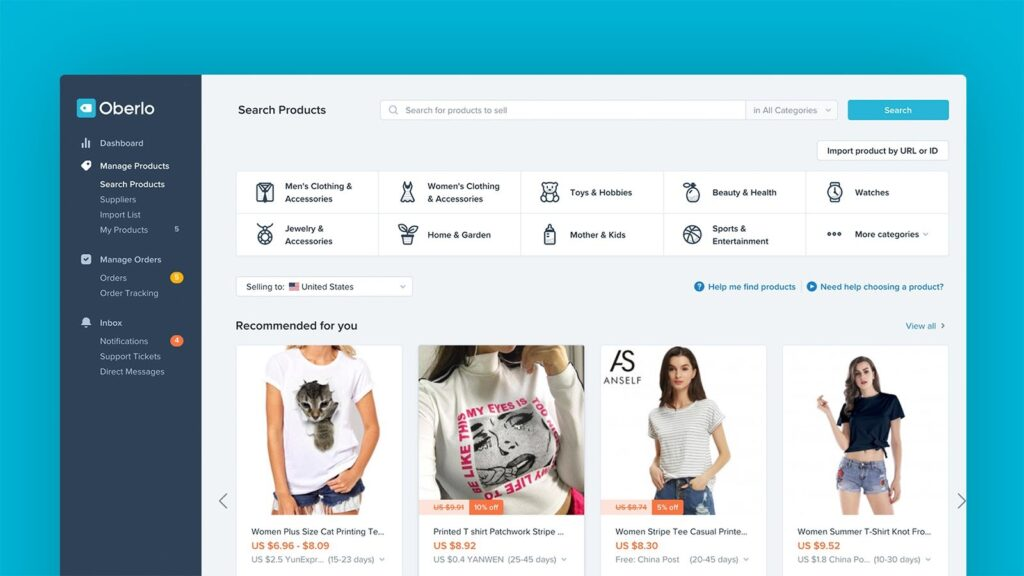 Shopify can integrate with many third parties. However Oberlo can only integrate with Shopify