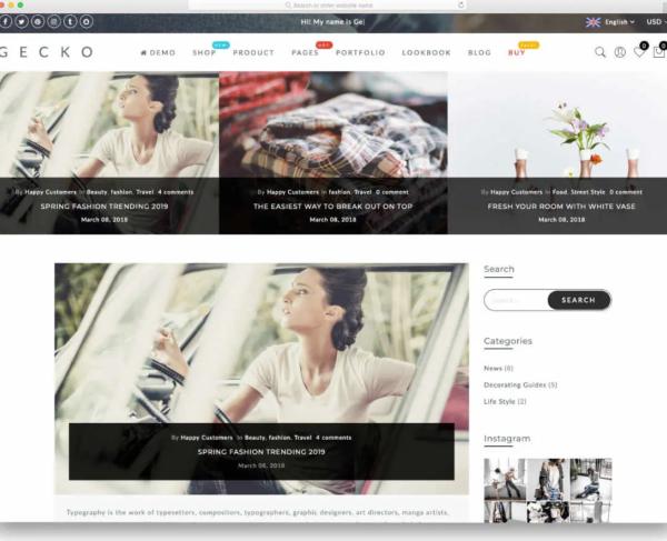 Gecko 5.0 Shopify Blog Theme