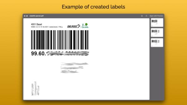 Swiss Post Label Printer Shopify App