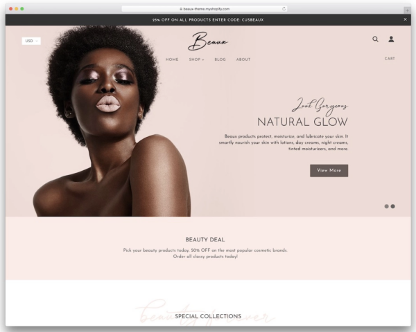 Beaux Shopify Theme Example
